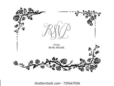 Wedding or jubilee theme. Ornamental frame with roses. Solemn floral element for design banner,invitation, leaflet, card, poster and so on.