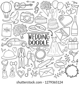 Wedding Just Married Traditional Doodle Icons Sketch Hand Made Design Vector