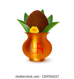 Wedding Kalash with coconut and mango leaves. Symbol of hindu traditional rituals. Isolated on white, realistic style. Vector.