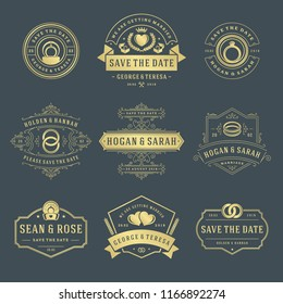 Wedding labels and badges vector and design elements set. Vintage typography titles for save the date invitations cards, decoration ornaments and symbols.