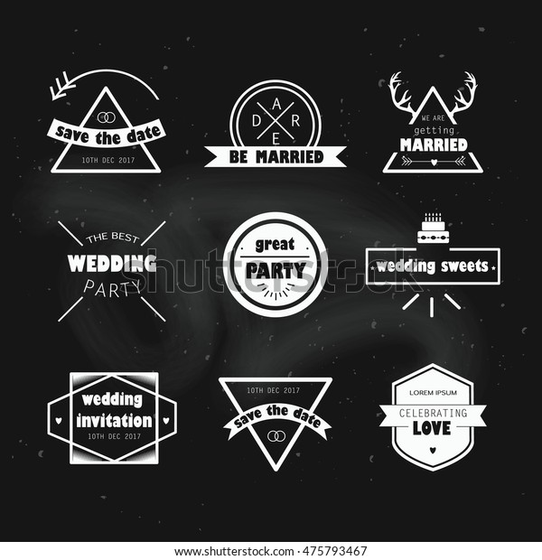 Wedding labels. Vector illustration. Wedding icons hipster vintage style on chalkboard background. We are getting married. Save the date. The best wedding party invitation. Celebrating love.