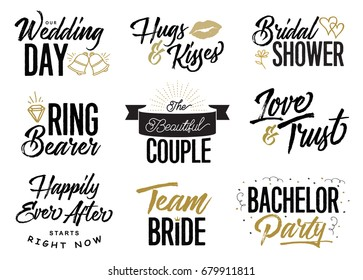 Wedding Lettering Phrases Vector Set, Our Wedding Day, Hugs & Kisses, Bridal Shower, Ring Bearer, Love & trust, the beautiful couple, Team Bride, Bachelor party, 9 unique designs in collection