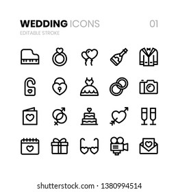 Wedding Line Icons with editable stroke for web and apps