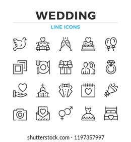 Wedding line icons set. Modern outline elements, graphic design concepts, simple symbols collection. Vector line icons