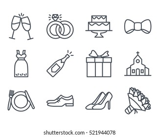 Wedding Line Outlined Icon Vector Pack Set