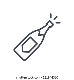 Wedding Line Outlined Icon Vector Champagne Bottle