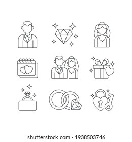 Wedding linear icons set. Man and woman engagement ceremony. Thin line customizable illustration. Contour symbol. Vector isolated outline drawing. Editable stroke