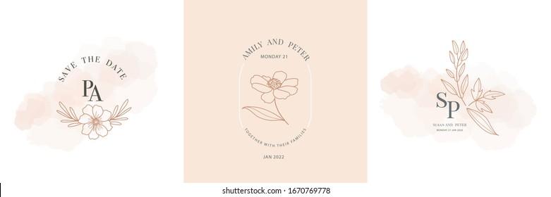Wedding logo, Botanical rustic trendy greenery vector illustration Floral logo design for wedding invitation, RSVP, Thank you cards,  save the date card, Vector illustration.