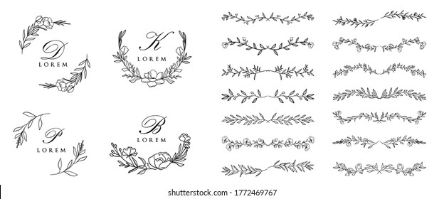 Wedding logo creator vector set. Hand Drawn Wreaths and Frames, floral and leaves, swirls, frames, wreaths and text divided for wedding invitation and greeting cards.
