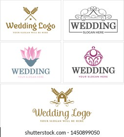 Wedding logo design pink flower with line vector ornament roof suitable for wedding planner academy website business exclusive spa