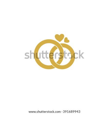Wedding Logo Gold Wedding Rings Stylized Engagement Stock Vector
