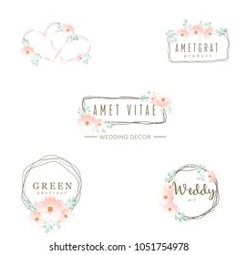 Wedding logo icons set, floral design, frame and flowers decoration vector elements