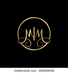Wedding logo monogram with two curly letters mirrored. Initial gold letter m mm inside circle vector logo design template on black background. Suitable for wedding invitation, tailor shop, print, web.