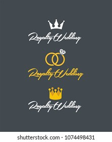 Wedding Logo of the Royal Wedding. Logo in the form of a crown and wedding rings and text: Royal Wedding.
