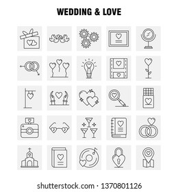 Wedding And Love Line Icons Set For Infographics, Mobile UX\u002FUI Kit And Print Design. Include: Bulb, Idea, Love, Heart, Wedding, Movies, Video, Love, Icon Set - Vector