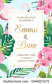 Wedding marriage event invitation card template. Tropical jungle rainforest bright green palm tree monstera leaves, pink orchid flowers and exotic flamingo birds border frame on light blue background.