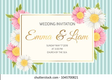 Wedding marriage event invitation card template. Colorful pink white yellow daisy aster chamomile flowers. Rectangular border frame. Vertical blue stripes background. Golden gradient text placeholder.