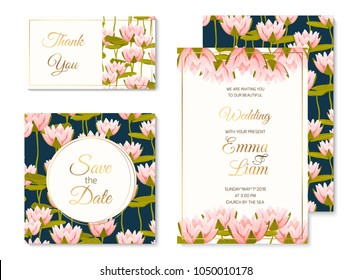 Wedding marriage event invitation card template set. Pink crimson water lilly lotus floral vector design illustration. Pink crimson aquatic plants bloom blossom green lily pad leaves.
