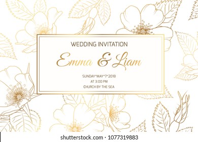 Wedding marriage event invitation card template. Wild rose rosa canina dog rose garden flowers. Detailed outline drawing. Rectangular border frame with text placeholder. Luxury bright shiny golden.