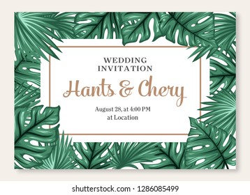 Wedding marriage event invitation card template. Exotic tropical jungle rainforest bright green palm monstera leaves border frame. Horizontal landscape layout - vector