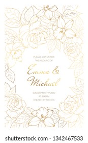 Wedding marriage event invitation card template. Rose peony daffodil narcissus flowers leaves. Copper gold shiny outline clean white background. Round circle text placeholder decorated with flowers.