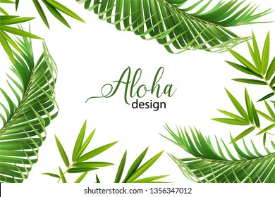 Wedding marriage event invitation card template. Exotic tropical jungle rainforest bright green palm Bamboo leaves border frame. Horizontal landscape layout.