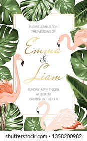 Wedding marriage event invitation card template. Tropical jungle rainforest bright green palm tree monstera philodendron leaves and exotic flamingo birds border frame on white background.