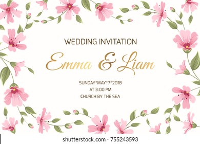 Wedding marriage event invitation card template. Gypsophila babys breath pink purple flowers border frame on white background. Horizontal landscape aspect ratio. Text placeholder. Save the date RSVP.