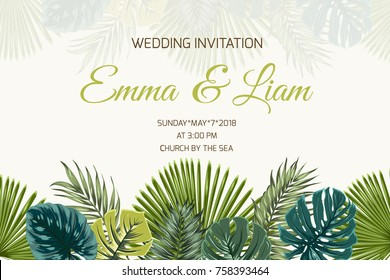 Wedding marriage event invitation card template. Exotic tropical jungle rainforest bright green palm tree and turquoise monstera leaves on beige background. Horizontal landscape. Text placeholder.