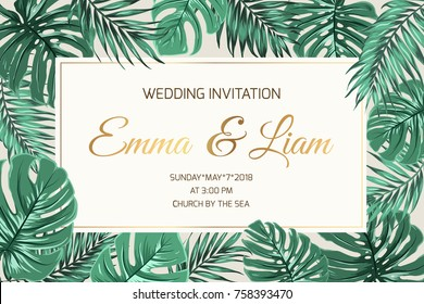 Wedding marriage event invitation card template. Exotic tropical jungle rainforest bright green palm monstera leaves border frame. Horizontal landscape layout. Shiny gold gradient text placeholder.
