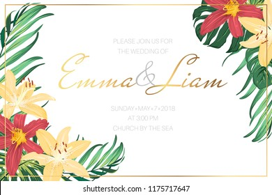 Wedding marriage event invitation template. Bright red yellow lilly flowers green exotic tropical monstera leaves. Shiny golden title text placeholder. Clean white background. Horizontal landscape.