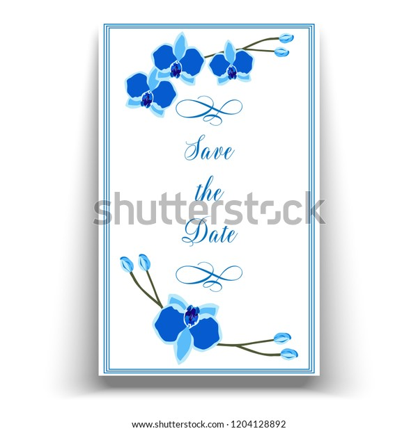 Wedding Marriage Event Invitation Template Blue Stock Image