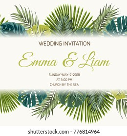 Wedding marriage event RSVP save the date invitation card template. Modern luxury exotic tropical jungle rainforest bright green palm tree turquoise monstera leaves. Promo banner text placeholder.