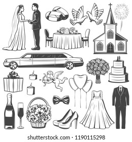 Wedding marriage icons. Bride and groom, limousine and church, engagement accessories, glasses with champagne, cake, clothes and flowers, pigeons and balloons, dress, suit, doves and bouquet vector