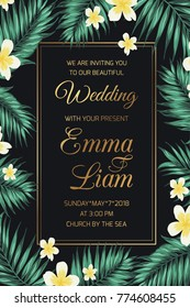 Wedding marriage invitation card template. Exotic tropical jungle rainforest green palm tree border frame with frangipani, plumeria flowers on black night background. Shiny golden gradient text color.