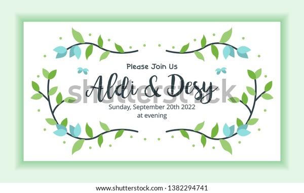 Wedding Marriage Invitation Template Horizontal Landscape Stock