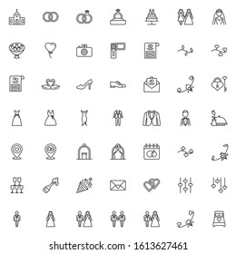 Wedding, marriage line icons set. Bridal linear style symbols collection, outline signs pack. vector graphics. Set includes icons as newlyweds groom and bride, bridal wedding dress, groom, invitation