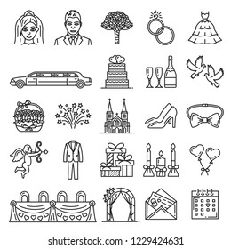 Wedding and marriage linear icons. Vector outline heart love, wedding or bride dress and bride, groom and limousine car, gifts with candles, dove and wine, church and golden ring, cupid with arrow