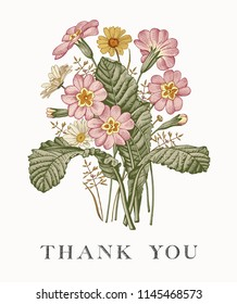 Wedding marriage thanks invitation bouquet Beautiful blooming flowers Vintage greeting card Frame Drawing engraving Chamomile primrose isolated floral Wallpaper background Vector baroque Illustration