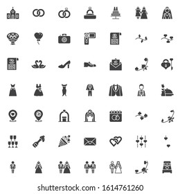 Wedding, marriage vector icons set, modern solid symbol collection, filled style pictogram pack. Signs, logo illustration. Set includes icons as newlyweds groom and bride, bridal wedding dress, groom