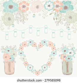 Wedding / mason jar banner / heart flower wreath / Mint