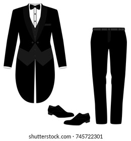Wedding men's suit with shoes, tuxedo. Collection. Vector illustration