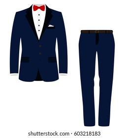 Wedding men's suit, tuxedo. Vector illustration.