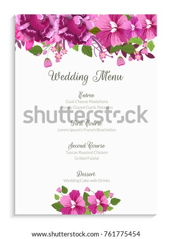Wedding Menu Card Design Decorated Pink Stock Vector Royalty Free