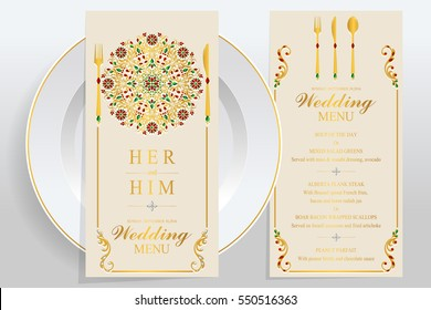 wedding Menu card templates with gold patterned and crystals on paper color.