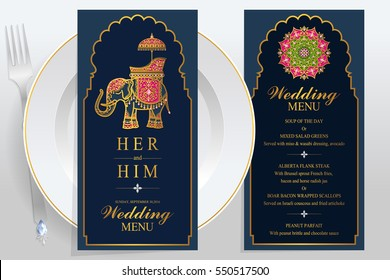wedding Menu card templates with gold patterned and crystals on paper color