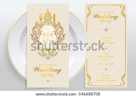 Wedding Menu Card Templates Gold Patterned Stock Vektorgrafik