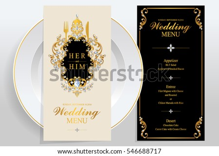 Wedding Menu Card Templates Gold Patterned Stock Vector Royalty