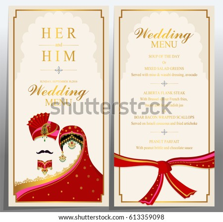 Wedding Menu Card Templates Gold Patterned Stock Vector Royalty