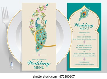 wedding Menu card templates with Peacock feathers patterned and crystals on paper color.